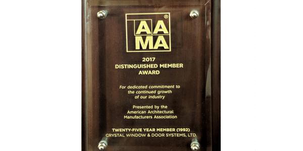 Attirant Crystal Windows Receives AAMA Milestone Award